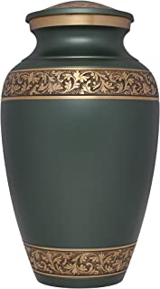 Liliane Memorials Green and Gold Funeral Cremation Urn in Pewter Finish Treviso Model in Brass for Human Ashes Suitable for Cemetery Burial; Fits Remains of Adults up to 200 lbs, Large, Gray