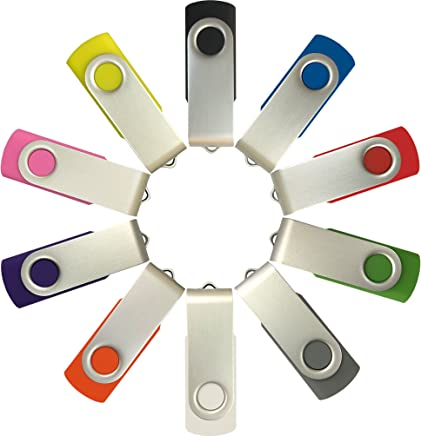Enfain 16GB USB Flash Drive Memory Stick Thumb Drives (MultiColor, 10 Pack)