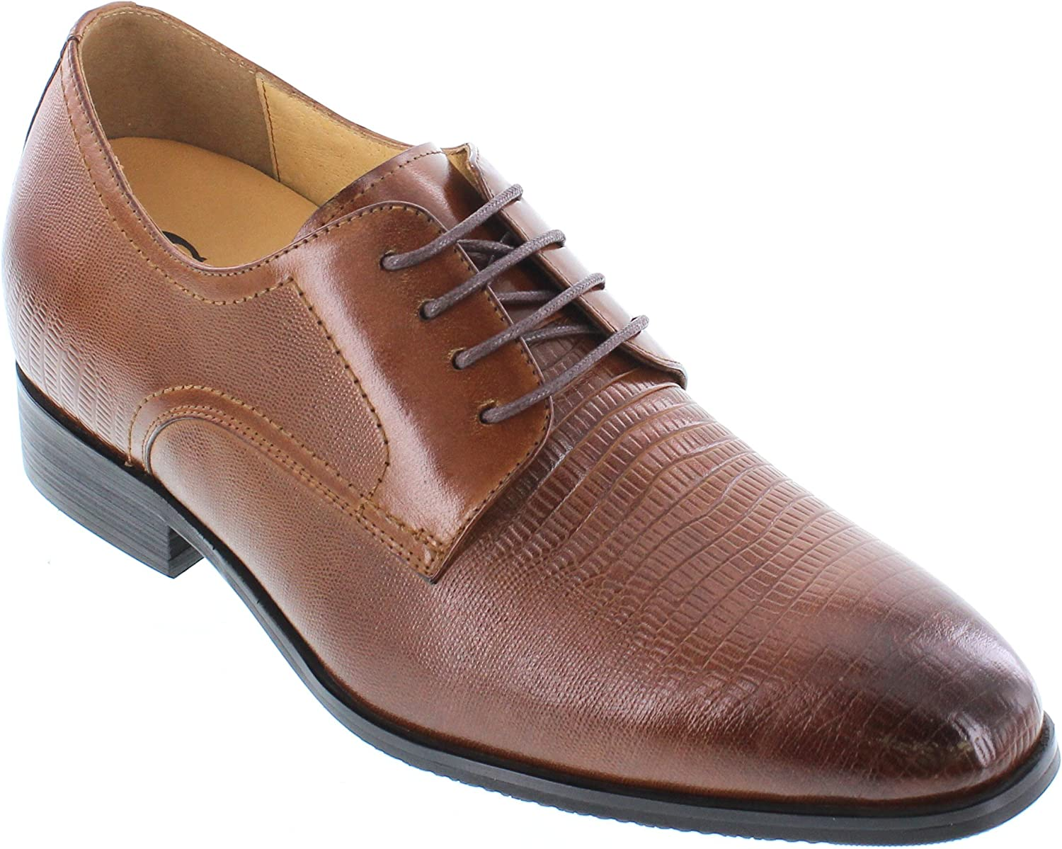 CALTO Men's Invisible Height Increasing Elevator shoes - Brown Premium Leather Lace-up Formal Oxfords - 3 Inches Taller - Y40203