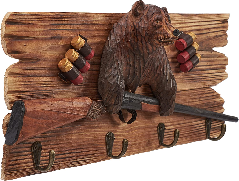 Atmosphere Leisure Brown Bear Shot Gun Wall Hook Sculpture Figurine. Hand Carved & Made 100% Solid Pine Wood?.