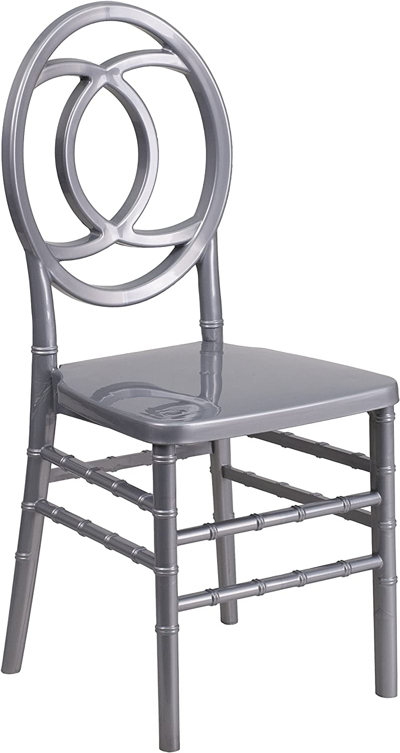 Flash Furniture BH-ROYAL-SIL-GG Hercules Indestructo Series Silver Resin Royal Stacking Chair