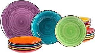 MamboCat Ensemble d'assiettes 18 pièces uni coloré | faïence Fine | Assiette à dîner + Assiette Creuse 750 ML + Assiette à...
