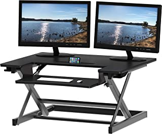 SHW Height Adjustable Sit to Standing Desk Riser Workstation, Black