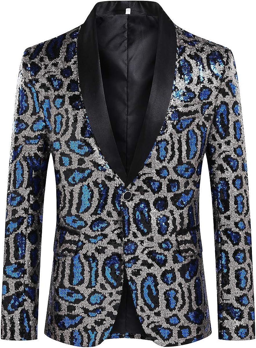 Mens Luxury Sequin Tux Jacket Slim Fit Leopard Party Dress Blazer Sport Coat