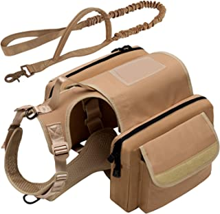 Voulosimi Dog Pack - Detachable Canvas Saddle Bag Backpack and Easy Adjust Oxford Material Pet Vest Service Dog Harness with Tactical Bungee Dog Leash for Camping Hiking Harness Medium & Large Dog