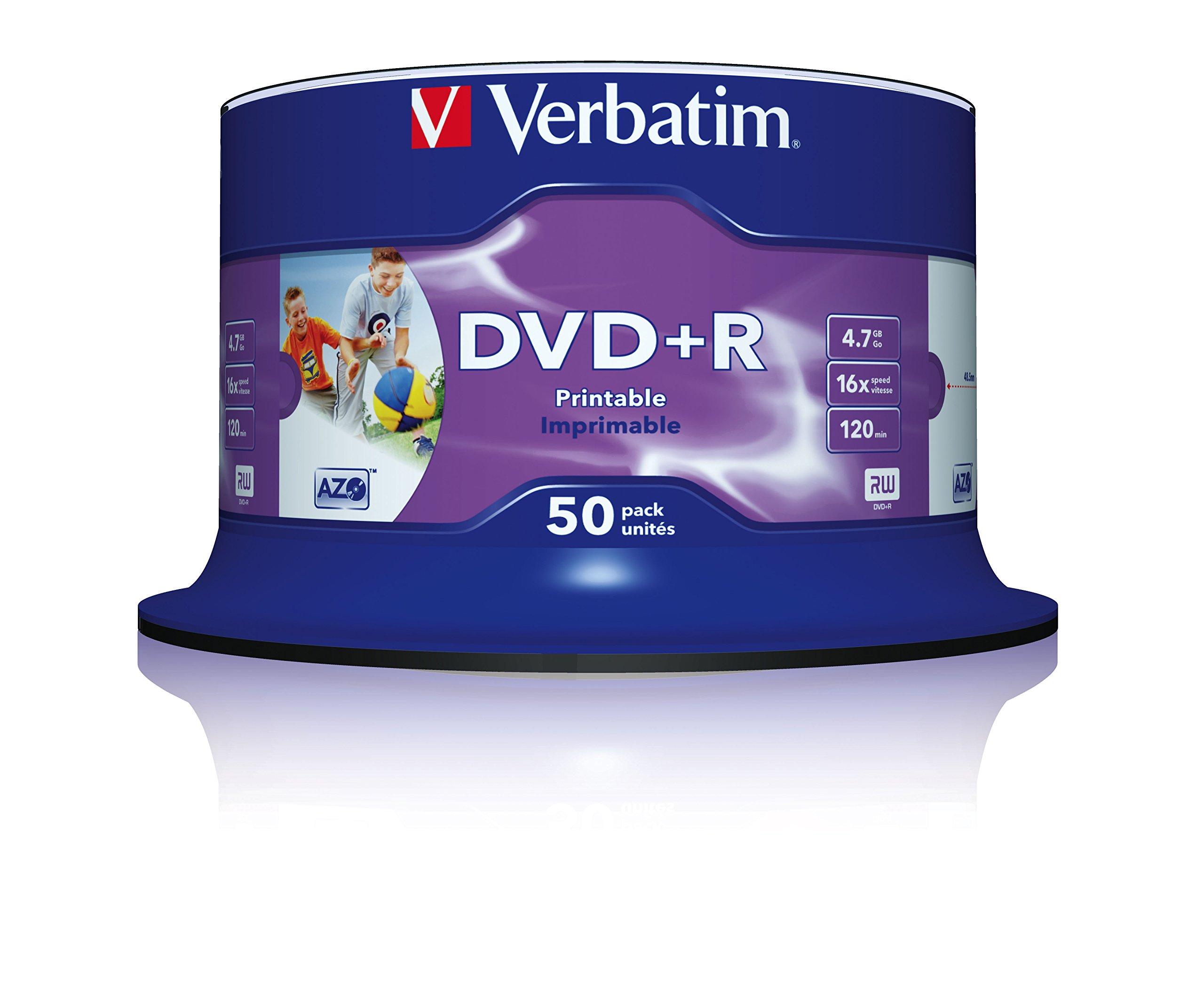 Verbatim DVD+R pack de 50 dvds vírgenes, 4,7 GB, 120 mm: Amazon.es: Informática