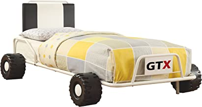 Furniture of America O'Connor Racing Metal Youth Bed, Twin, White