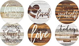 Legacy Publishing Group RCC50534 Marla Rae Round Cork-Backed Coaster Set, 6-Count, This Home Is Blessed