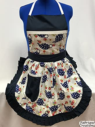 Fabrique Creations Polka Dot On White with Navy Trim FC136F Retro Vintage 50s Style Full Apron // Pinny Navy /& White Teapots