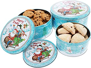 Christmas Nesting Cake Tins - 3-Set Round Nested Cookie Candy Storage Containers with Lids for Confectioneries, Holiday Decor, Light Blue and White