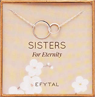 EFYTAL Sister Gifts from Sister, 925 Sterling Silver Double Circle Necklace, Birthday Jewelry Gift Necklaces for Sisters for Eternity