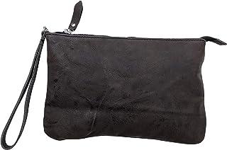 Borsetta pochette borsa a mano in vera pelle riciclata stropicciata effetto vintage Col. Grigio fatto a mano in Italia Mad...