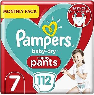 Pampers Baby droge luierbroek maat 7, 112 luierbroek, maandelijks spaarpakket, Easy-On met luchtkanalen voor maximaal 12 u...