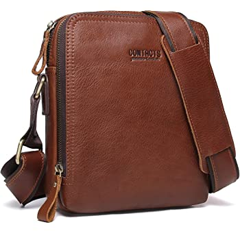 Contacts Genuine Leather Mens iPad Mini Messenger CrossBody Bag Tab Handbag Brown