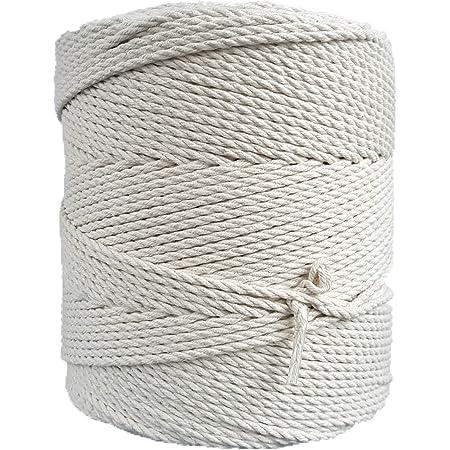 MB Cordas Corde Macramé 3mm 400 m - Cordon en Coton Naturel 3 Brins - Ficelle de Macramé, Crochet, Tricot - Sac à Main, Panier, Attrapes-rêves - Blanc Écru Ivoire