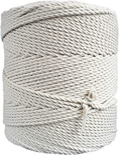 MB Cordas Macrame Cord 3mm * 400m Natural 3 Strand Twisted Cotton Cord - DIY Rope Craft Rope for Plant Hangers