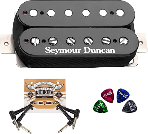 lowest Seymour Duncan SH-4 JB Model Humbucker outlet sale Pickup - Black Bridge lowest for Electric Guitars Bundle with Blucoil 2-Pack of Pedal Patch Cables, and 4-Pack of Celluloid Guitar Picks online sale