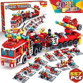 Graceduck Construction Building Toys for Kids - 25 in 1 Fire Truck Boat Helicopter Car Toy Building Blocks Model Kit Educational STEM activities Gifts for Boys Girls Teen age 6 7 8 9 10 11 12 Year Old