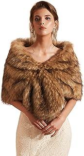 Datangep Wedding Women Faux Fox Fur Wraps Shawls Stoles Cape Shrug for Bridal Evening Party
