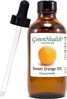 Sweet Orange – 4 fl oz (118 ml) Glass Bottle w/Glass Dropper – 100% Pure Essential Oil – GreenHealth