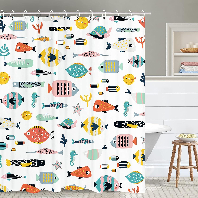 RosieLily Fish Super intense Milwaukee Mall SALE Shower Curtain Kids Cart Bathroom