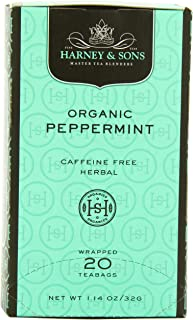 Harney & Sons Premium Organic Peppermint Herbal Tea, 20 Tea Bags