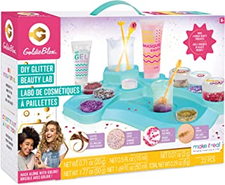 Make It Real GoldieBlox - DIY Glitter Beauty Lab Kids Glitter Slime - STEM Spa Kit - Peel-Off Face Mask, Sugar Scrub, Eye Mask, Hair Gel and Sticker Sheet