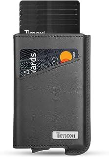 Timoxi Tarjetero de piel auténtica con protección RFID hasta 9 tarjetas