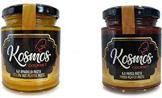 Kosmos Gourmet Aji Amarillo Paste and Aji Panca Paste Peruvian Food Yellow Spice and Panca Chili Pepper Sauce Mild Spicy - 2 PACK - 7.50 oz. each