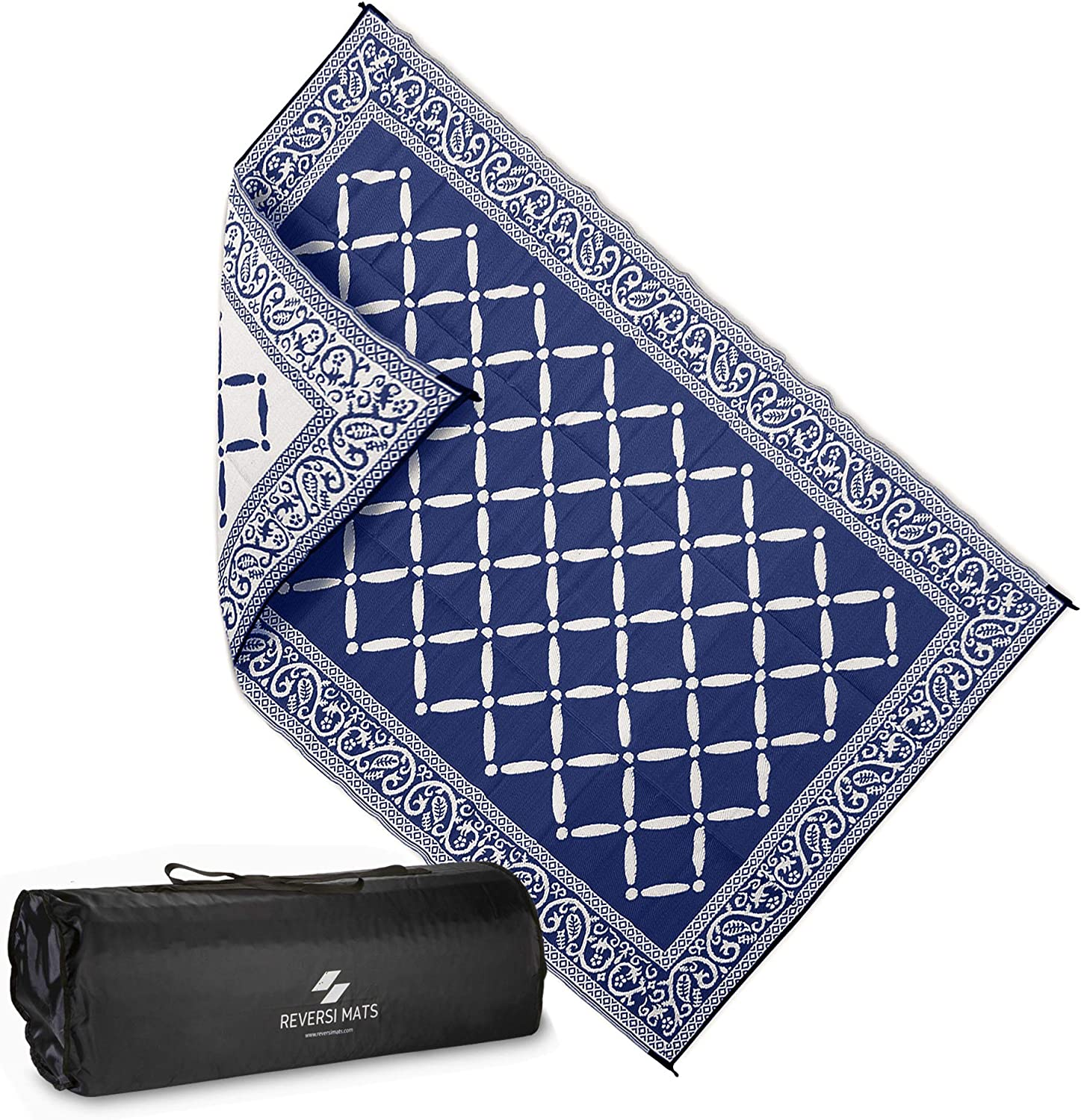 AdvenGo Reversi Mats (6' x 9') Medium Mat and Rug for Outdoors, RV, Patio, Trailer & Camping - Heavy Duty, Weather Resistant Reversible Rugs - Comes with Storage Bag - Great for Picnics - bluee Beige