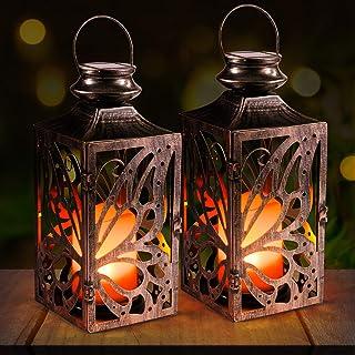 Solar Laterne,OxyLED LED Kerze und Täuschend echt Wirkenden Flacker-Effekt, IP44 Festive Light für Deko Garten(2 Stück)