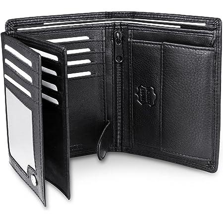 Frentree® Herren Geldbörse aus Nappa Leder mit RFID Schutz, 15 Kartenfächer, Hochformat Portemonnaie, Schwarz