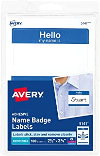 Avery Print or Write Name Badge Labels with Blue Border (05141)
