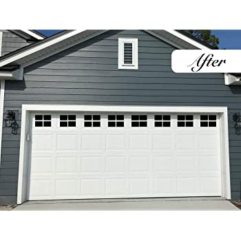 Garage Door Decorative Hardware Large Door Faux Magnetic Windows All Season Weather Resistant Non Fade Pvc Small Panels Kits For Metal Garage Door Garage Door Decor Kit 4 Hinges 2 Handles Amazon Com