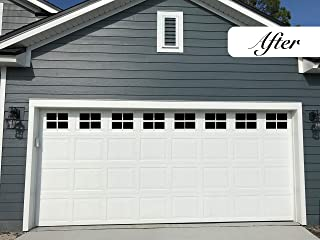 Magnetic Garage Door Windows | Now 2X Stronger | Decorative Black Window Decals for Two Car Garage | Magnets Hardware Set | Faux Windows Kit | Perfect Decoration & Easy Installation Home Upgrade