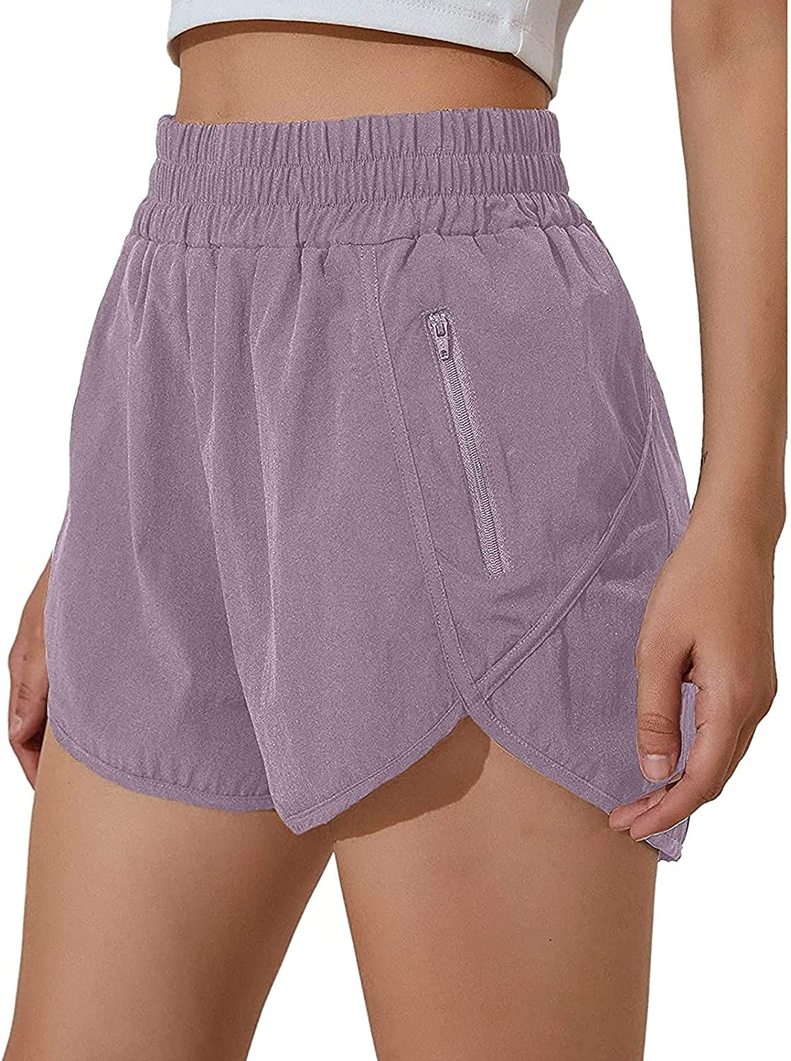 FlekmanArt Womens Workout Shorts with Quick-Dry Athle Pocket Zip Max 57% New Shipping Free Shipping OFF