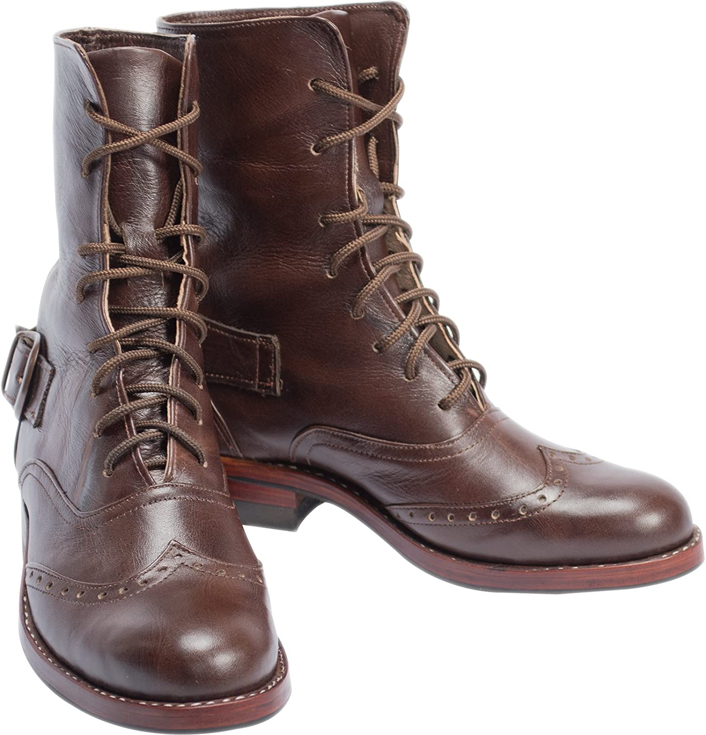 Atitlan Leather Women's Leather Brogue Combat Boots