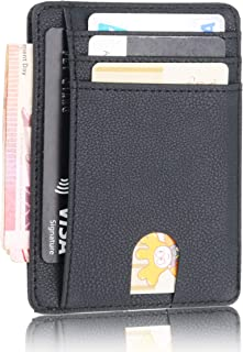 Stazh Slim Wallet - Minimalist Front Pocket RFID Blocking Leather Wallets for Men & Women - Grain Black