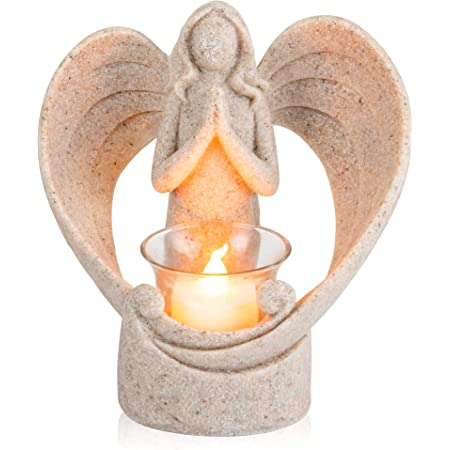 Tealight Holder Arthur The Angel Wooden My Guardian Angel approx 9,5 x 9,5 cm 70206