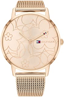 ساعة اليكس من تومي هيلفجر للنساء بمينا ذهبي قرنفلي - 1782369
