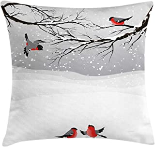 Winter Throw Pillow Cushion Cover, Winter Season Snow Colorful Happy Birds Cartoon Animals Tranquil Pattern, Decorative Square Accent Pillow Case, 18 X 18 Inches, Vermilion Grey Black