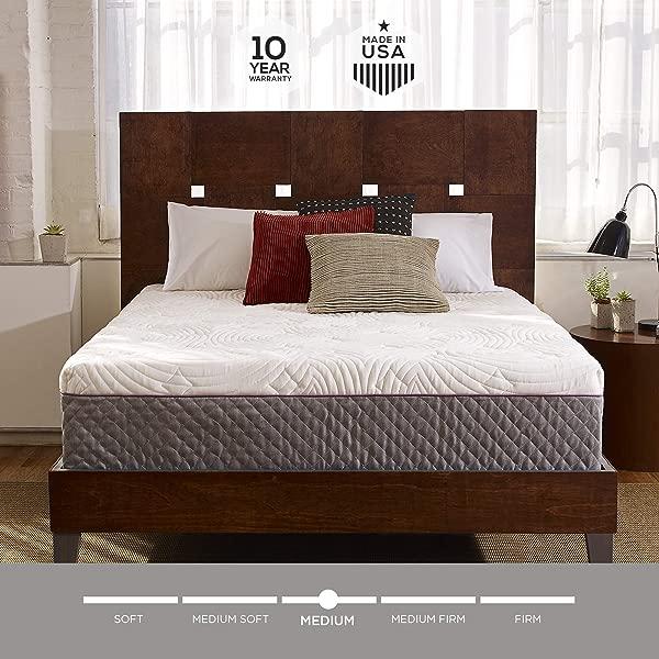Sleep Innovations Shiloh 12 英寸记忆泡沫床垫床盒装绗缝盖美国制造 10 年保修大号
