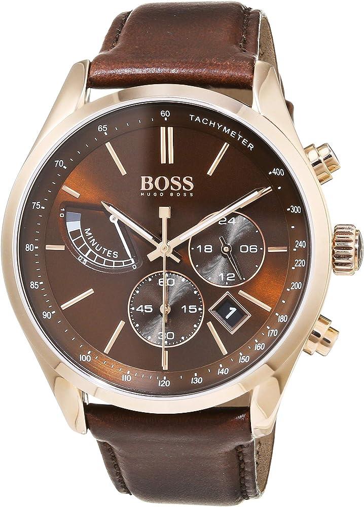 Hugo boss, orologio cronografo al quarzo per uomo, con cinturino in pelle e cassa in acciaio inossidabile 1513605