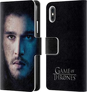 Official HBO Game of Thrones Jon Snow Valar Morghulis Leather Book Wallet Case Cover Compatible for iPhone X/iPhone Xs