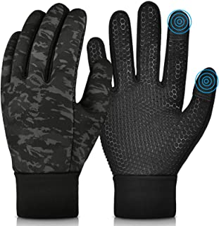 Kids Winter Warm Gloves with Grip - Boys Girls Thermal Fleece Running Cycling Gloves Touch Screen Cold Weather Soft Anti S...