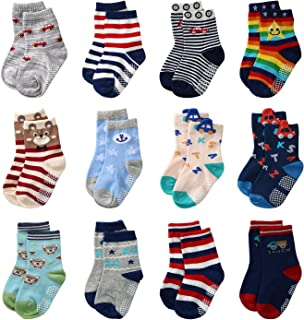 Baby Anti Slip Socks Non Skid Soft Cotton Ankle Socks with Grip For Kids Toddler Boys