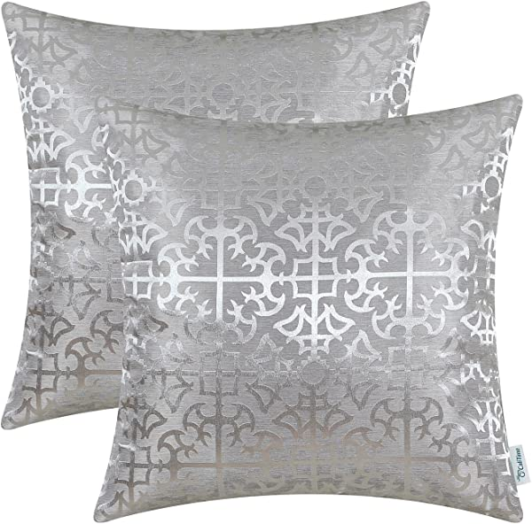 CaliTime Pack Of 2 Throw Pillow Covers Cases For Couch Sofa Home Decor Vintage Shining Dull Contrast Cross Flowers Trellis Geometric Figure 18 X 18 Inches Silver Gray