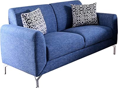 Benjara Benzara Contemporary Style Linen Fabric Love Seat with Two Contrasting Pillows, Blue,