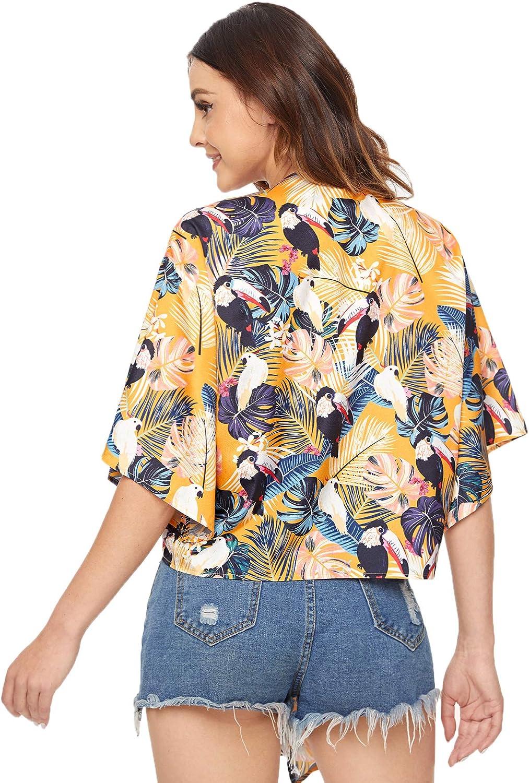 WDIRARA Womens Short Sleeve Deep V Neck Tie Front Basic Solid Crop Top