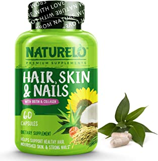 NATURELO Hair, Skin and Nails Vitamins - 5000 mcg Biotin, Natural Collagen, Organic Vitamin C - Supplement for Faster Hair...